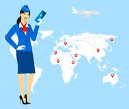 Illustration of a stewardess in blue uniform holding tickets in hand Royalty Free Stock Photos
