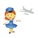 Illustration of stewardess Royalty Free Stock Images
