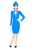 Illustration of stewardess dressed in blue uniform Royalty Free Stock Photo