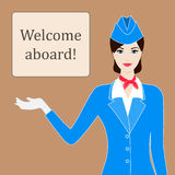 Illustration of stewardess welcoming for flight with space for text Stock Images