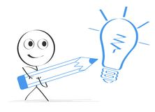 Person drawing light bulb. An illustration of a stick figure drawing a light bulb with oversize pen vector illustration
