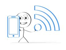 Illustration of man with smartphone stock images