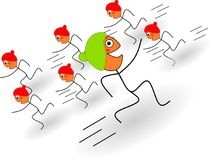 One stick figures is running against the stream. Illustration of a stick figure who is running against the stream Stock Illustration