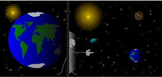 Stick figure is searching for a new planet. Illustration of a stick figure who is searching for a new planet Royalty Free Illustration