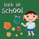 illustration stickers back to school.With a child, backpa Stock Photo