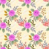 Illustration stieg und kleine Blumen auf gelbem Hintergrund stock abbildung