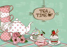 Illustration with still life of tea set and cupcakes Stock Illustration