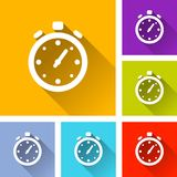 Stopwatch icons with long shadow stock illustration