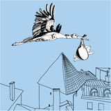 Illustration of stork over the city. Vector Illustration of stork over the city with a baby Royalty Free Stock Photography