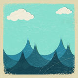 Illustration of a stormy sea and clouds of paper. Stock Images