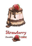 Illustration of strawberry cake Royalty Free Stock Photography
