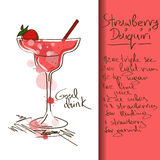 Illustration with Strawberry Daiquiri cocktail Stock Photography