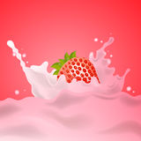 Strawberry Milk Splash Stock Photography