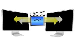 Illustration of streaming movie on pc isolated Royalty Free Stock Image