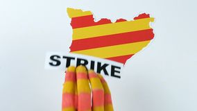 Illustration, strike in Catalonia stock footage