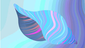 Illustration -Striped Shell on blue wavy background.Vector. Stock Photo