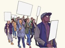 Illustration of student demonstration with blank signs Royalty Free Stock Photography