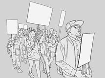 Illustration of student demonstration with blank signs Stock Photography
