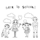 Illustration with students. Back to school. Royalty Free Stock Photography