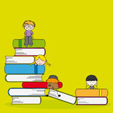 Illustration of students and books vector illustration