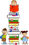 illustration of students and books vector Stock Image
