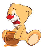 Illustration of a Stuffed Toy Bear Cub and a Honeypot. Cartoon Character. Small yellow bear with honey Stock Photos