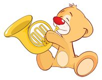 Illustration of a Stuffed Toy Bear Cub Trumpeter. Cartoon Character Royalty Free Stock Photos