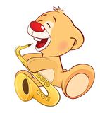 Illustration of a Stuffed Toy Bear Cub Trumpeter. Cartoon Character. Small yellow bear the musician with a musical instrument Royalty Free Stock Photos