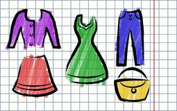 Illustration in the style of children's drawing Clothing Stock Photos