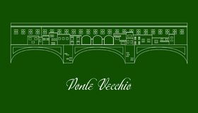 The illustration with landmark the Ponte Vecchio royalty free illustration