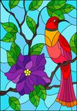 Stained glass illustration with a beautiful red bird sitting on a branch of a blossoming tree on a background of leaves and sky. Illustration in the style of Stock Illustration