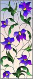 Stained glass illustration with intertwined abstract purple flowers and leaves on a sky background. Illustration in the style of stained glass with intertwined royalty free illustration