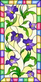 Stained glass illustration  with intertwined abstract purple  flowers and leaves on a yellow  background in a bright frame. Illustration in the style of stained Royalty Free Stock Image