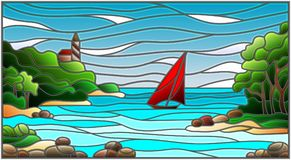 Illustration in the style of stained glass with sea views, sailing in rocky Bay on the background of sea and sun. Stained glass illustration with sea views Royalty Free Stock Photo
