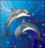 Stained glass illustration  with two dolphins on the background of water and air bubbles. Illustration in the style of stained glass with two dolphins on the Royalty Free Stock Image