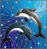Stained glass illustration  with two dolphins on the background of water and air bubbles. Illustration in the style of stained glass with two dolphins on the Royalty Free Stock Images