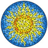 Stained glass illustration abstract cracked sun against the blue sky, round image. Illustration in the style of a stained glass window abstract cracked sun stock illustration