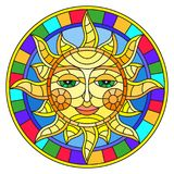 Stained glass illustration  with abstract sun in bright frame,round image Royalty Free Stock Photos
