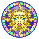 Stained glass illustration  with abstract sun in bright frame,round image Stock Images