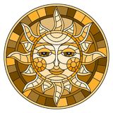 Stained glass illustration  with abstract sun in frame,round image,brown tone Royalty Free Stock Image