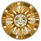 Stained glass illustration  with abstract sun in frame,round image,brown tone Stock Photography