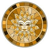 Stained glass illustration with abstract sun in frame,round image,brown tone Stock Image