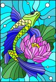 Stained glass illustration with a bright fish and a flower of a lotus against water and vials of air Stock Photography