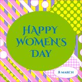 Vector illustration of stylish 8 march happy women`s day greeting card with lettering typography text sign, hearts,  big rough st. Illustration of stylish 8 Stock Photography
