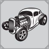 Illustration of a stylish monochrome hotrod on a gray background Stock Image