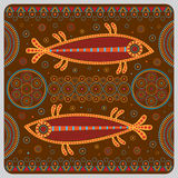 Illustration with stylized fish in the ethnographic style. Stock Images