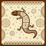 Illustration with a stylized image of a lizard in the ethnographic style. Royalty Free Stock Photo