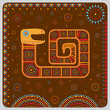 Illustration with a stylized image of a snake in the ethnographic style. stock illustration