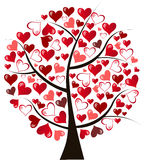 Illustration stylized love tree made of hearts.  Royalty Free Stock Photo