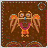 Illustration with a stylized owl in the ethnographic style. Royalty Free Stock Photography